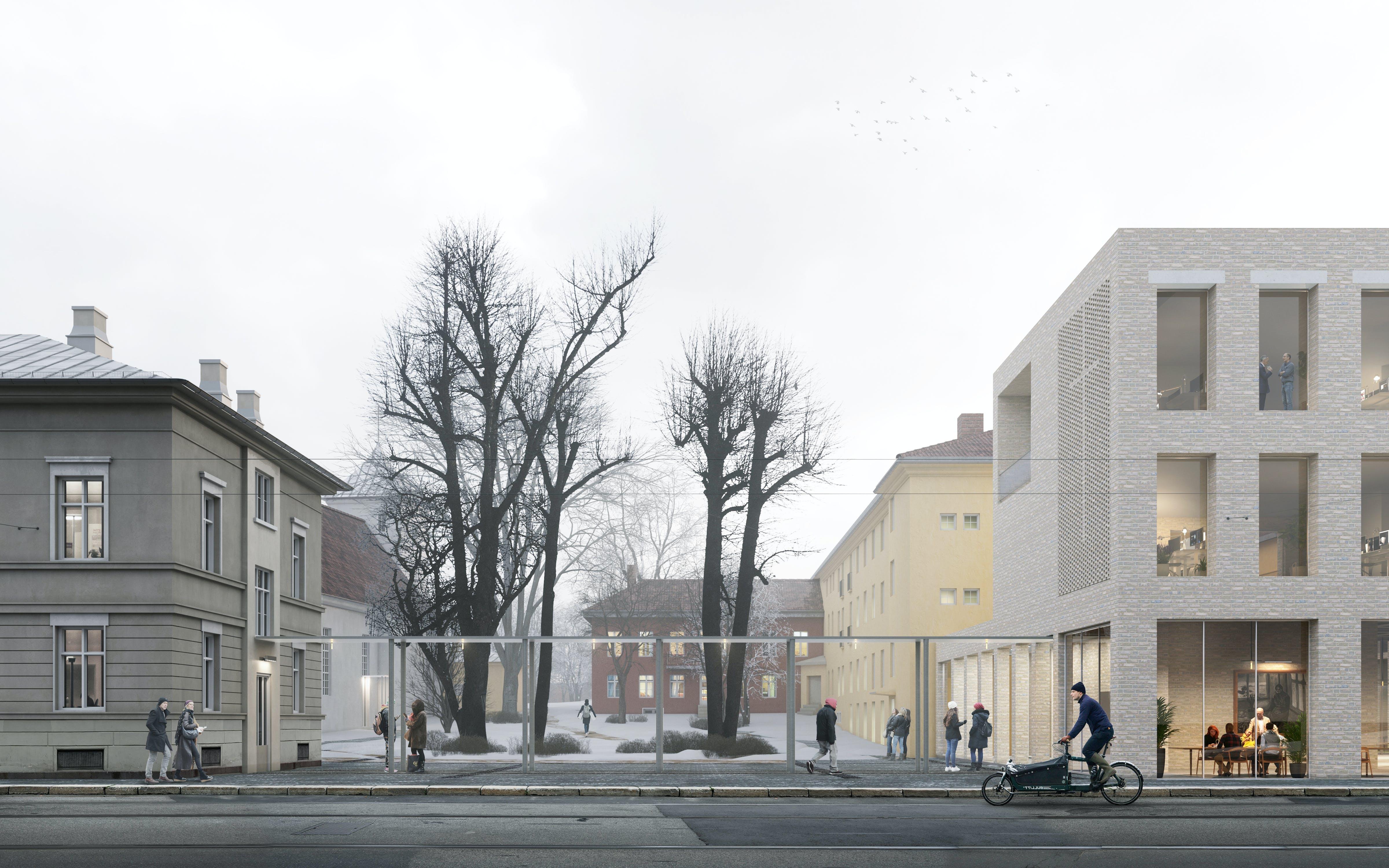 Klostergården sett fra Oslo gate u logo